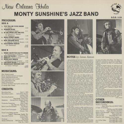 Monty Sunshine New Orleans Hula vinyl LP album (LP record) US 1MSLPNE760328