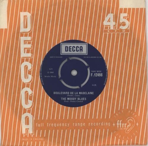 "Moody Blues Boulevard De La Madelaine 7"" vinyl single (7 inch record) UK MBL07BO405652"