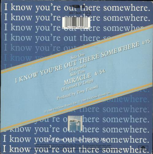 """Moody Blues I Know You're Out There Somewhere 7"""" vinyl single (7 inch record) Spanish MBL07IK715278"""