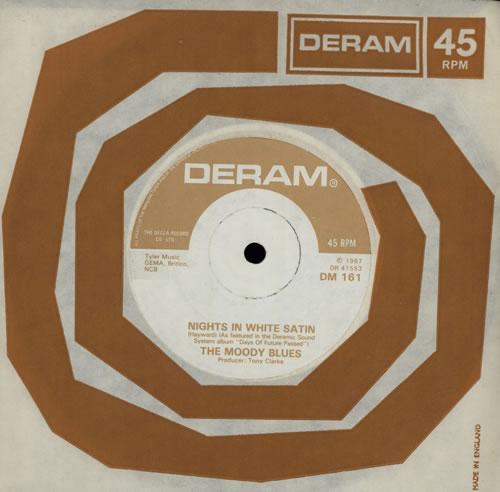 "Moody Blues Nights In White Satin - 3rd 7"" vinyl single (7 inch record) UK MBL07NI562055"