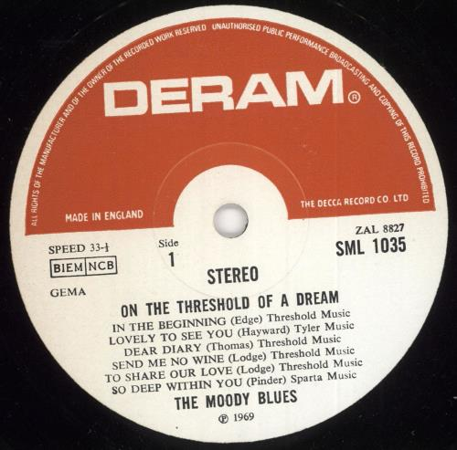 Moody Blues On The Threshold Of A Dream - 3rd vinyl LP album (LP record) UK MBLLPON722550
