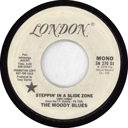 """Moody Blues Steppin' In A Slide Zone 7"""" vinyl single (7 inch record) US MBL07ST714634"""