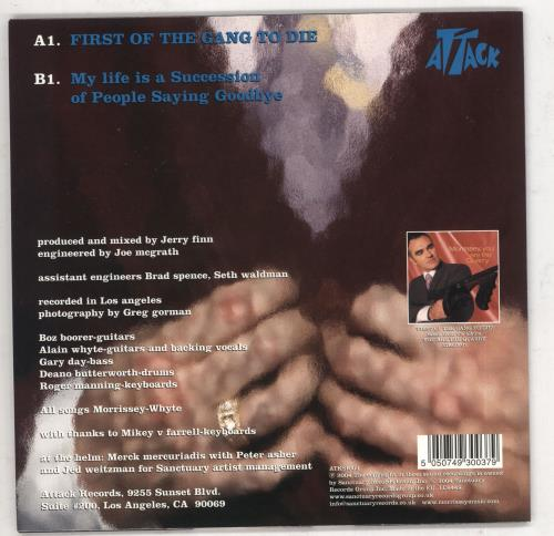 """Morrissey First Of The Gang To Die 7"""" vinyl single (7 inch record) UK MOR07FI290974"""