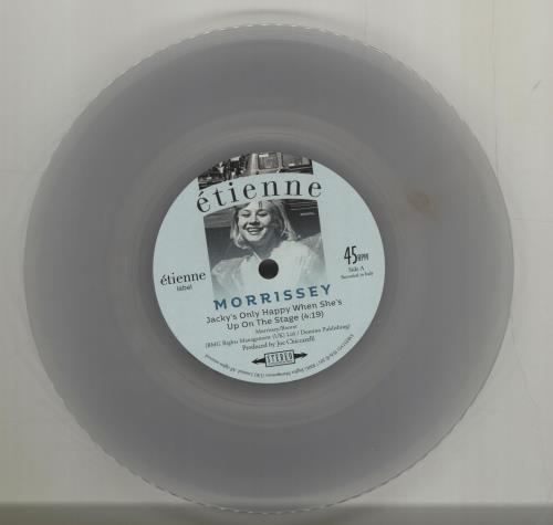 "Morrissey Jacky's Only Happy When She's Up On The Stage - Clear Vinyl 7"" vinyl single (7 inch record) UK MOR07JA686386"