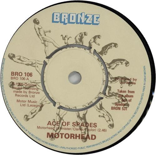 "Motorhead Ace Of Spades 7"" vinyl single (7 inch record) UK MOT07AC643969"