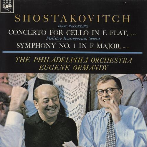 Mstislav Rostropovich Shostakovitch: Cello Concerto in E Flat, Op.107 / Symphony No. 1 in F Major, Op.19 vinyl LP album (LP record) UK N64LPSH723980
