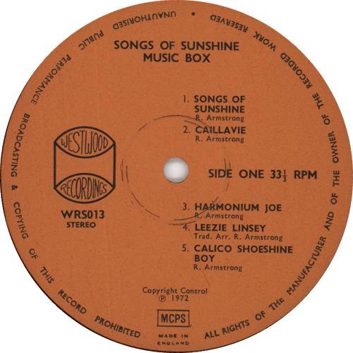 Music Box Songs Of Sunshine vinyl LP album (LP record) UK 0U2LPSO735035