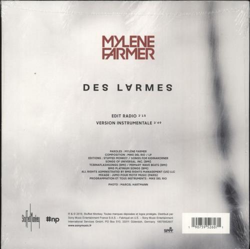 "Mylene Farmer Des Larmes - Sealed 7"" vinyl single (7 inch record) French MYL07DE730255"