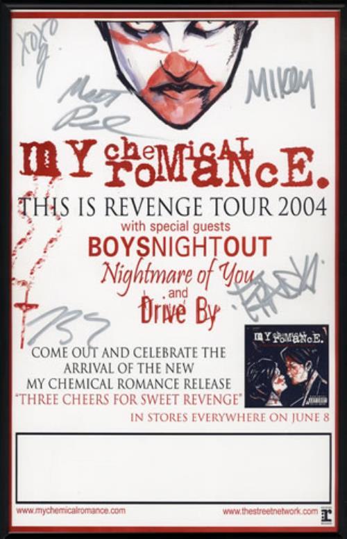 My Chemical Romance Tour >> My Chemical Romance This Is Revenge Tour Autographed Us Promo