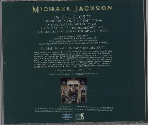 """Michael Jackson In The Closet - Green CD single (CD5 / 5"""") US M-JC5IN06834"""