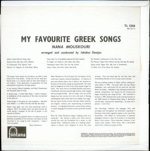Nana Mouskouri My Favourite Greek Songs - Mono UK vinyl LP album (LP