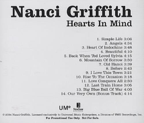 Nanci Griffith Hearts In Mind CD-R acetate US NANCRHE316515