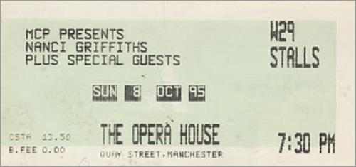 Nanci Griffith The Opera House, Manchester concert ticket UK NANTITH363839