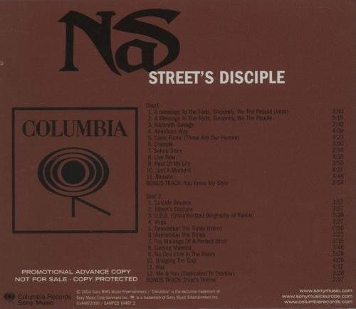 Nas Street Disciple 2 CD album set (Double CD) UK N-S2CST665182