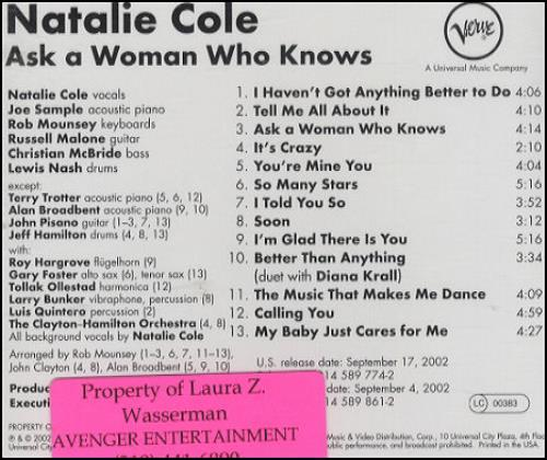 Natalie Cole Ask A Woman Who Knows CD album (CDLP) US NCOCDAS215982