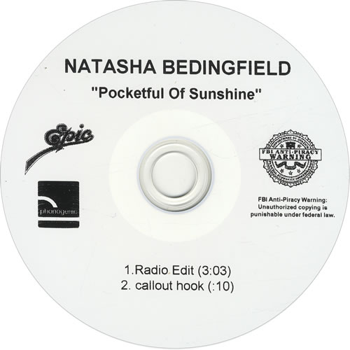 Natasha Bedingfield Pocketful Of Sunshine CD-R acetate US NBDCRPO444081