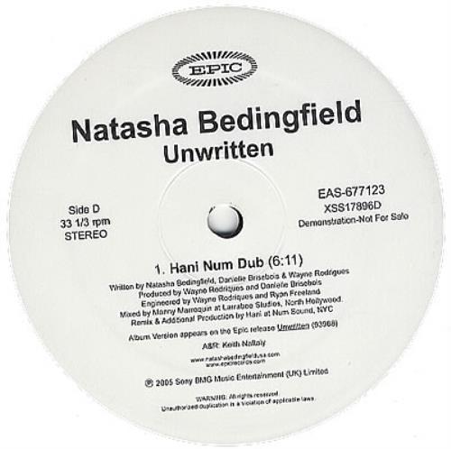 "Natasha Bedingfield Unwritten 12"" vinyl single (12 inch record / Maxi-single) US NBD12UN385510"