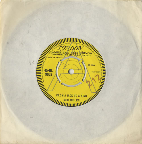 """Ned Miller From A Jack To A King 7"""" vinyl single (7 inch record) UK NMI07FR476683"""