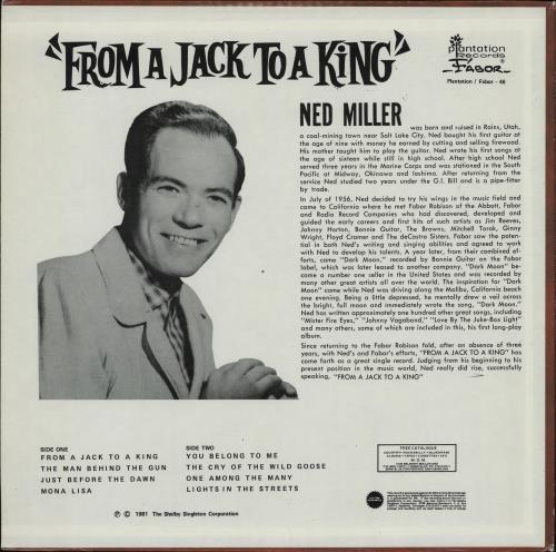 Ned Miller From A Jack To A King vinyl LP album (LP record) US NMILPFR763296