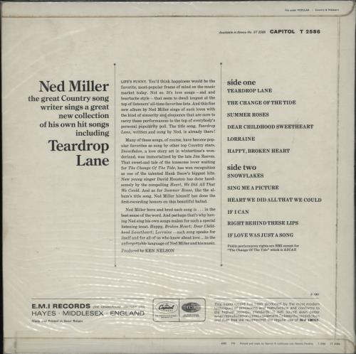 Ned Miller Teardrop Lane vinyl LP album (LP record) UK NMILPTE763286