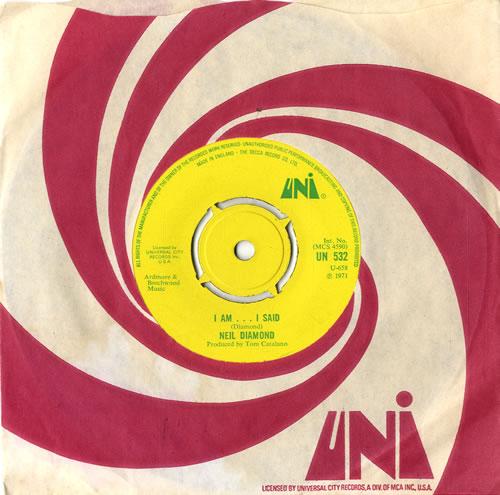 "Neil Diamond I Am...I Said - 4pr 7"" vinyl single (7 inch record) UK NDI07IA568841"