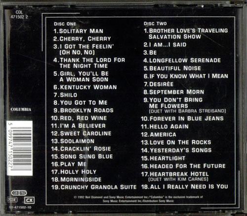 Neil Diamond The Greatest Hits 1966 1992 Austrian 2 Cd