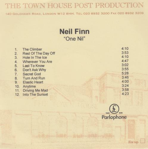 Neil Finn One Nil CD-R acetate UK NFNCRON178373