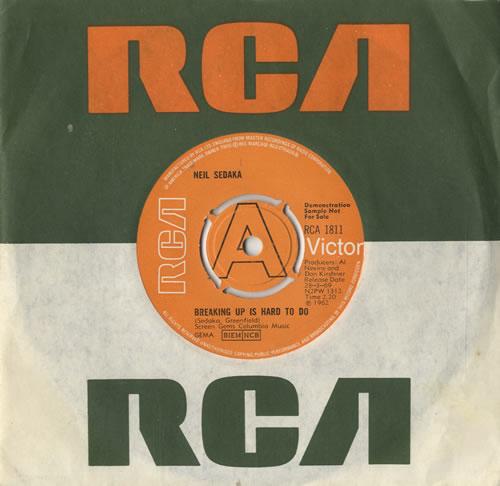 """Neil Sedaka Breaking Up Is Hard To Do 7"""" vinyl single (7 inch record) UK NSK07BR476780"""