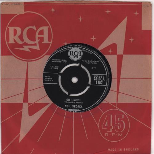 """Neil Sedaka Oh! Carol - 2nd 7"""" vinyl single (7 inch record) UK NSK07OH666749"""