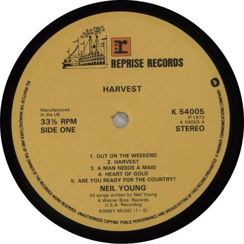 Neil Young Harvest - Late 70s vinyl LP album (LP record) UK YOULPHA714275