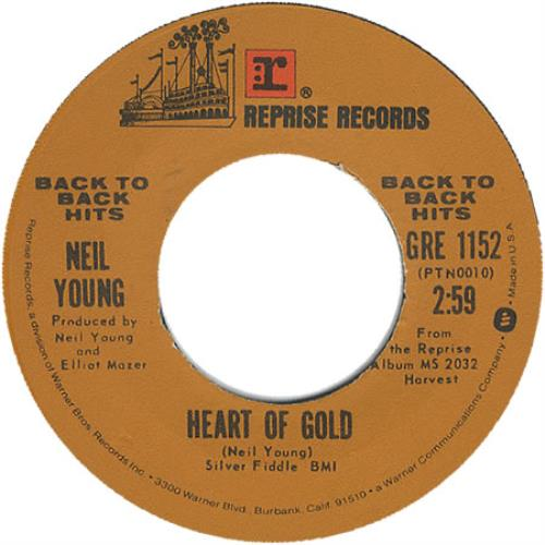 "Neil Young Heart Of Gold 7"" vinyl single (7 inch record) US YOU07HE402200"