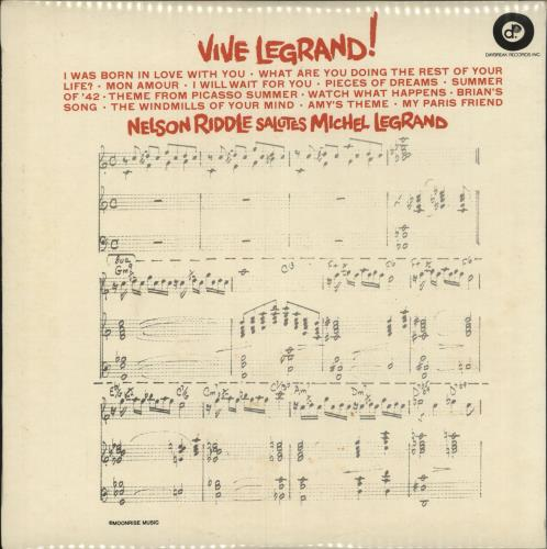 Nelson Riddle Vive Legrand! vinyl LP album (LP record) UK NLRLPVI749082