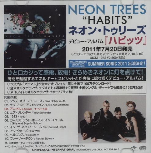 Neon Trees Habits CD-R acetate Japanese NG4CRHA665541