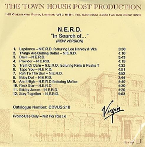 NERD In Search Of... CD-R acetate UK NRDCRIN353246