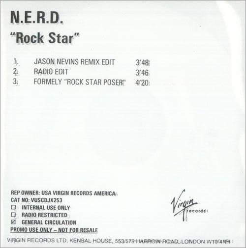 NERD Rock Star CD-R acetate UK NRDCRRO527503