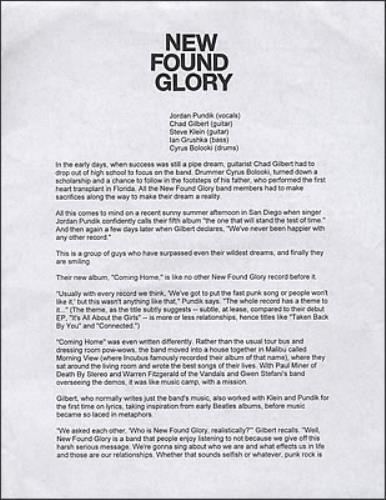 New Found Glory Coming Home media press pack US NFGPPCO379074