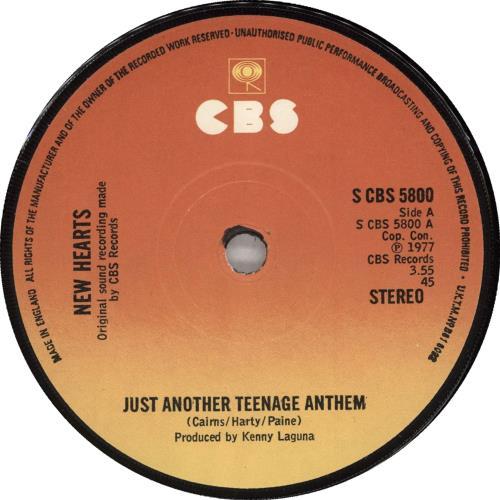 "New Hearts Just Another Teenage Anthem + Sleeve 7"" vinyl single (7 inch record) UK NE707JU607372"