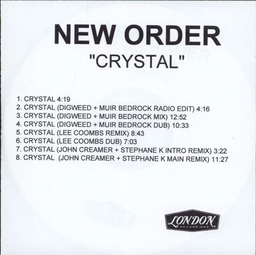 New Order Crystal CD-R acetate UK NEWCRCR195106