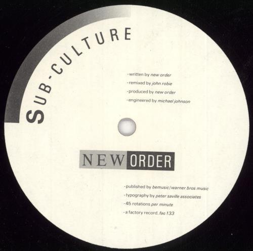 """New Order Sub-Culture 12"""" vinyl single (12 inch record / Maxi-single) UK NEW12SU86938"""