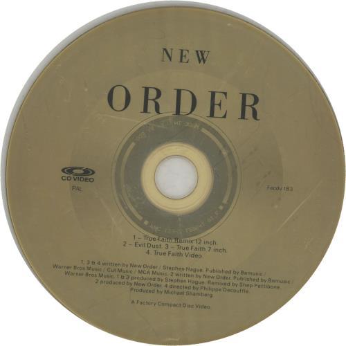 "New Order True Faith - CD-video CD single (CD5 / 5"") UK NEWC5TR35028"