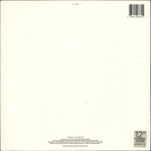 "New Order True Faith 12"" vinyl single (12 inch record / Maxi-single) US NEW12TR38981"