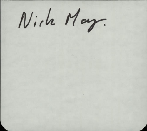 Nick May Page From An Autograph Book memorabilia UK N1FMMPA608957
