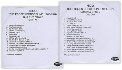 Nico The Frozen Borderline 1968-1970 CD-R acetate UK N-CCRTH399394