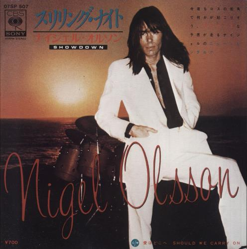 "Nigel Olsson Showdown - White label + Insert 7"" vinyl single (7 inch record) Japanese OLS07SH742997"
