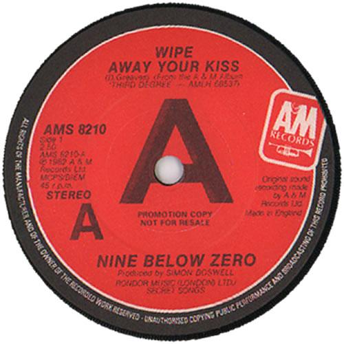 "Nine Below Zero Wipe Away Your Kiss 7"" vinyl single (7 inch record) UK NBZ07WI635439"