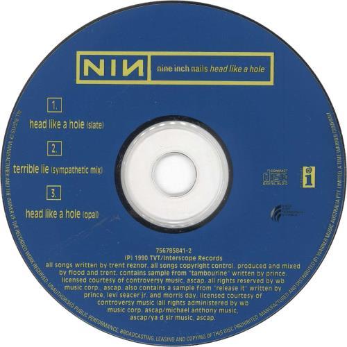 """Nine Inch Nails Head Like A Hole - 2nd CD single (CD5 / 5"""") Australian NINC5HE723778"""