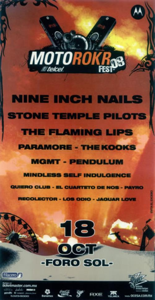 Nine Inch Nails Motorokr Fest \'08 Mexican Promo poster (450901)