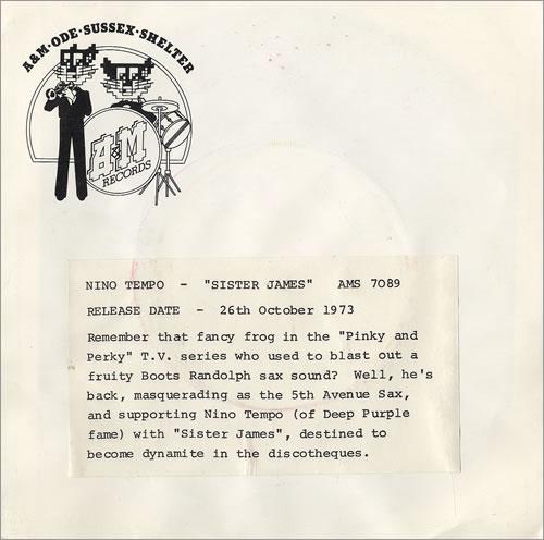 "Nino Tempo Sister James - P/S 7"" vinyl single (7 inch record) UK NNT07SI478835"