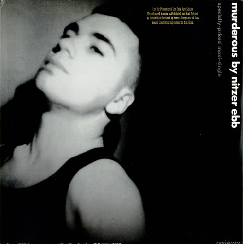 "Nitzer Ebb Murderous - Gold Promo Stamped 12"" vinyl single (12 inch record / Maxi-single) US EBB12MU50418"