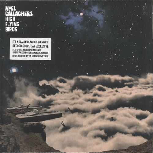 "Noel Gallagher It's A Beautiful World (Remixes) - RSD18 - Monochrome Vinyl - Sealed 12"" vinyl single (12 inch record / Maxi-single) UK NGL12IT694927"